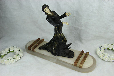 XL ART DECO 1930 french elegance lady statue marble onyx base spelter ivorine 2