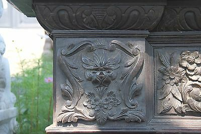 19C English Carved Oak Figural Jester Griffin/Gargoyle/Dragon Fireplace Mantel 4