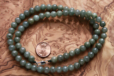 "Genuine 100% Natural Jadeite ""Grade A"" Beautiful Oily Green JADE Necklace #N291 7"