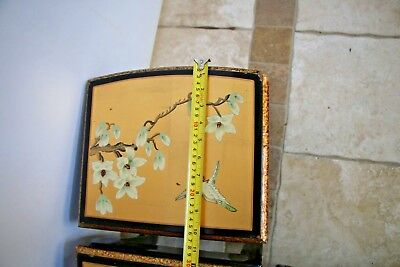 Vintage Asian Black Gold Leaf Mother of Pearl Oval Coffee Table & Five stands 9