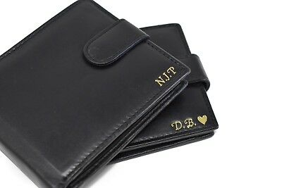 Personalised Engraved Mens Quality Luxury Soft Black Leather Credit Card wallet