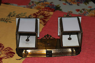 Vintage Double Light Wall Fixture-American Eagle Tops-White Glass Panels-Brass 6