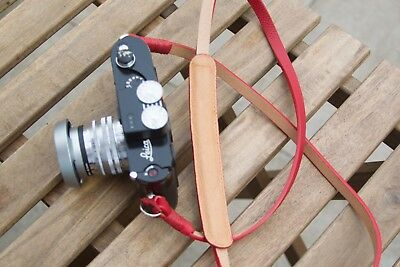 Leather Camera Strap - Red 2