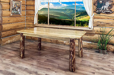 LOG KITCHEN TABLE Chairs Set Amish Made Furniture 6\' Table ...