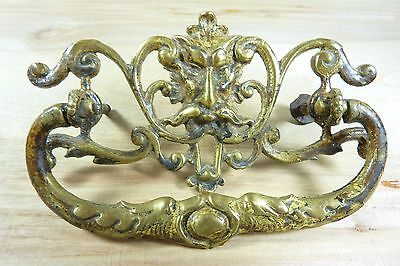 Antique 19c Brass Grotesque Face Head Koi Monster Pulls Architectural Hardware 3