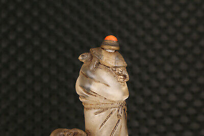 unique big chinese old glass hand carved life sage snuff bottle 5
