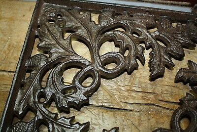 2 Cast Iron Antique Style OAK LEAF Brackets Garden Braces Shelf Bracket HD ACORN 2