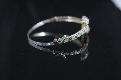925 Sterling Silver Handmade Authentic Turkish Emerald Bracelet Bangle Cuff 3
