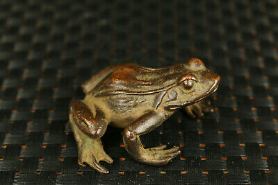 Chinese japanese bronze hand cast frog statue figure collectable ornament gift 6