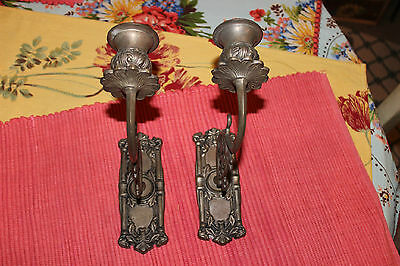 Superb Victorian Style Wall Mounted Candlestick Holders-Pair-Flower Design-LQQK 3