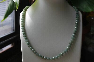 "Genuine 100% Natural Jadeite ""Grade A"" Beautiful Oily Green JADE Necklace #N291 6"