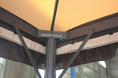 Gazebo 3X3 Giardino In Alluminio Telo Antipioggia Pvc Zanzariera Teli Antivento 8