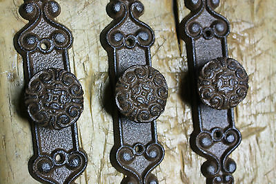 3 Cast Iron Antique Style Barn Handle Drawer Pull Shed Door Handles BACK PLATE 3
