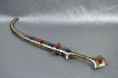 Silver Plated Dagger Carved Khanjar Jambiya Islamic Sheath Arabic Morocco Knife 5