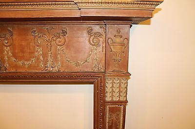 18th Century Adams Fireplace Mantel Carved Wood Basket, Urns, Floral Swags Etc. 2