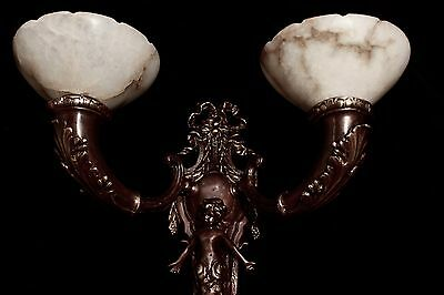 HUGE Pair of XL wall lights bronze & real alabaster cherub smade in America 6