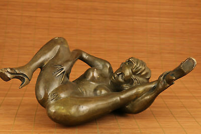 "9"" Antiques big copper hand carved statue collectable woman Statue 6"