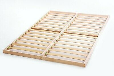 Slatted bed base 140 x 190cm Beech Wood Double Orthopedic Easy Assembly Antique 8