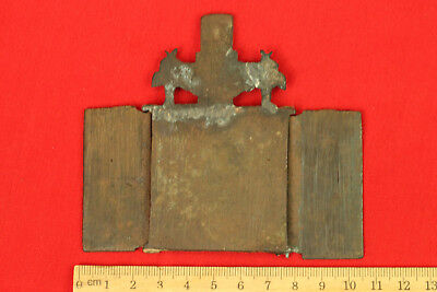 Old Antique Original Folding Russian Brass Bronze Travel Icon Tryptich 4