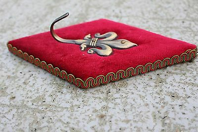 Lovely Vintage Mid Century Coat Hook Fleur De Lis Lys Red Velvet and Brass 2