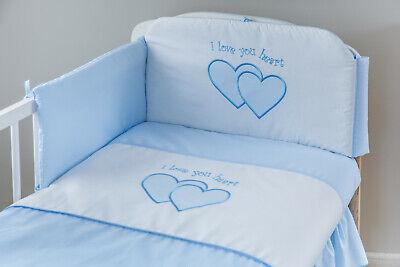 Babybett Natur Holz mit 10-tlg Komplett-Set Bettwäsche Matratze Herzchen Blau