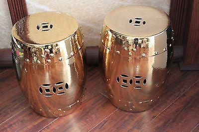 Pair Of Chinese Garden Porcelain Stools or Drum Tables 5