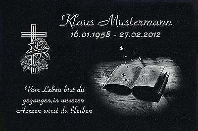 Grabstein Grabplatte Grabmal Wunsch Gravur + Doppelstütze aus Granit 30x20x1 cm 6