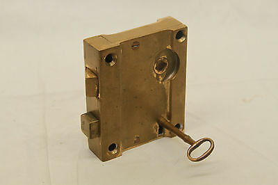 "Antique Architectural Salvage Brass Door Lock & Brass Pulls Original 3 3/4"" Key 12"