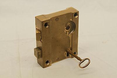 """Antique Architectural Salvage Brass Door Lock & Brass Pulls Original 3 3/4"""" Key 12"""