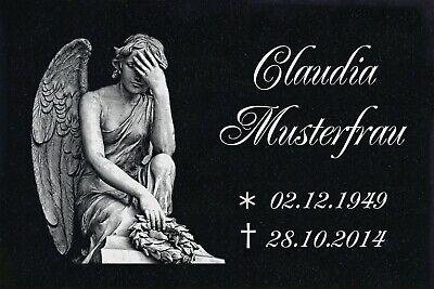 Grabstein GRANIT Grabplatte Grabtafel Ihre Wunsch Gravur 30x20 cm Engel-gg72s