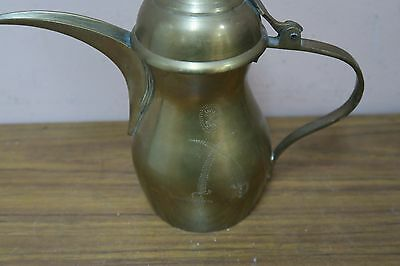 "Vintage Arabic Turkish Coffee Pot Patent #86710 Brass Etched 9"" Including Lid 3"
