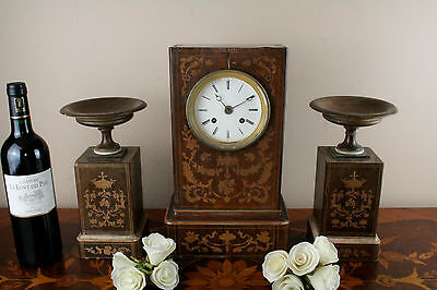 Gorgeous Antique 19th c French Marquetry inlaid Charles X wood clock set urns 4