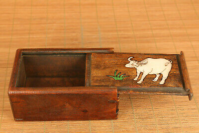 Chinese wood hand carving cow statue inlay conch box secret button open rare 6