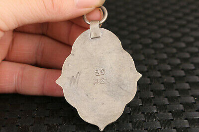 chinese old jade red stone jewel inlay cloisonne tibet silver pendant 5