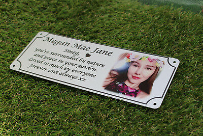 remembrance bench plaque photo memorial, 200mm x 75mm, metal, aluminium 6