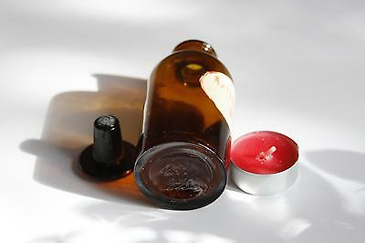 Apothekerflasche, Form selten, rund, alt, GUAJACOL. PUR. STOPFEN