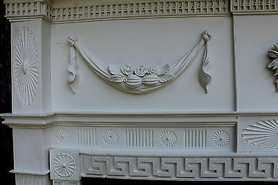 18th Century Fireplace Mantel Chip Carved Pinwheels, Ovals, W Added Swags,Basket 5