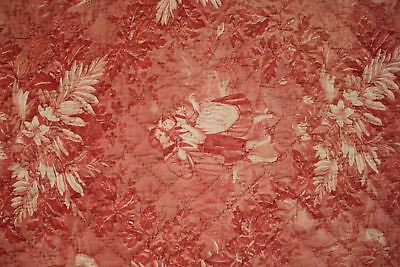 Antique French toile de Normandy c 1820 red quilted textile linen backed 9
