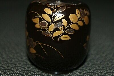 VTG Japanese wooden lacquer Gold makie Natsume tea caddy w/box from Japan b098 6