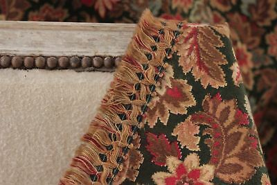 Antique French curtain c1880 heavy w/ fringe trim printed cotton LARGE drape 8