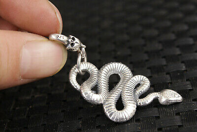unique Chinese silver handmade snake statue pendant netsuke necklace gift 6