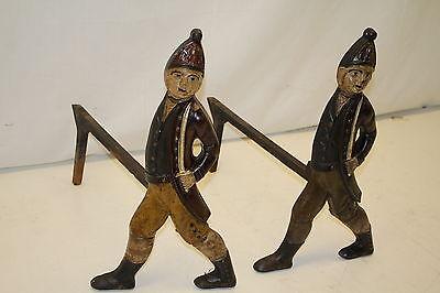 Cast Iron American Revolution Hessian Soldiers Andirons 2