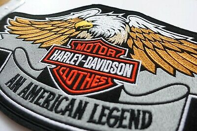 Harley Davidson Classic Orange Logo Sew-on Big large Patch  embroidery back 3