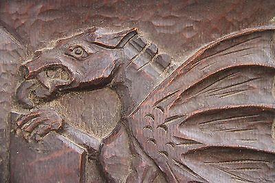 19C English Carved Oak Welsh Winged Dragon Griffin/Gargoyle/Shield 9