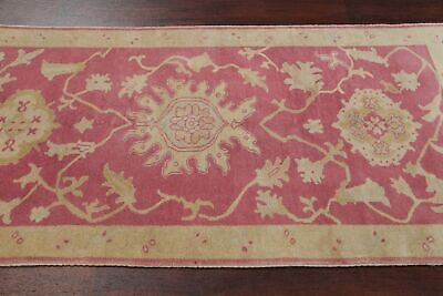 Antique Look PINK Oushak Egyptian All-Over Rug Vegetable Dye Hand-Knotted 3'x5' 8