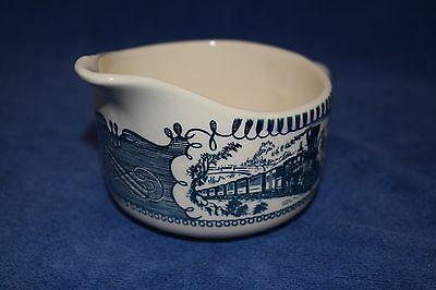 Royal China blue and white Currier and Ives creamer steam engine train