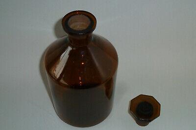 Alte Apotherflashe Braunglas mit achteckigem Glasstopfen 1000ml W292 2