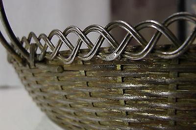 Korb mit Henkel geflochten, Metall, sehr schönes Muster 40er 6