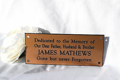 Personalised Engraved memorial Bench plaque sign 2