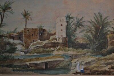 Magnifique Peinture Orientaliste Xixeme Signee Le Vieux Biskra Algerie Eur 250 00 Picclick Fr